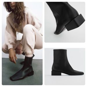 NEW: ZARA GENUINE LEATHER SQUARE TOE FLAT BOOTS